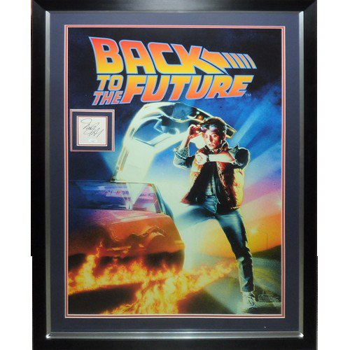 Back To The Future Full-Size Movie Poster Deluxe Framed with Michael J Fox Autographed Signed Autograph - JSA
