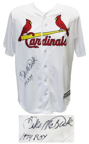 Bake McBride Autographed Signed St Louis Cardinals Majestic White Replica Baseball Jersey w/1974 ROY