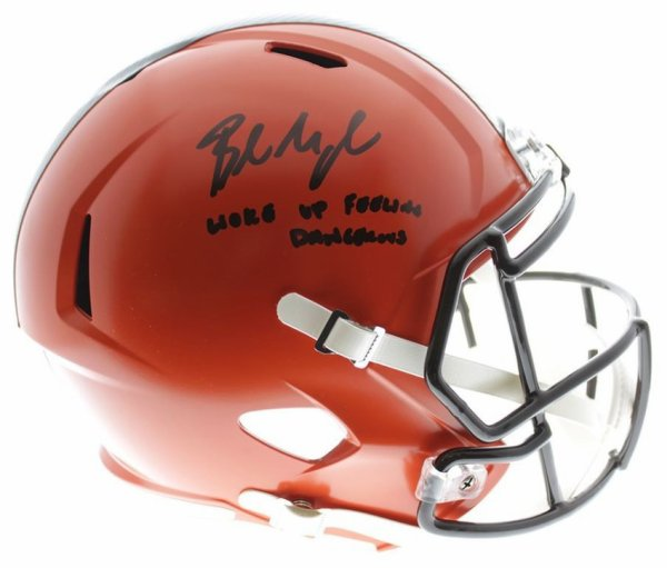 d1ab90418ce Baker Mayfield Autographed Signed Cleveland Browns Riddell Speed Replica  Full Size Helmet W/ Woke Up