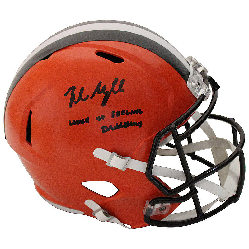 Baker Mayfield Autographed Signed Cleveland Browns Riddell Speed Replica Full Size Helmet With Woke Up Feeling Dangerous Inscription - Beckett Authentic