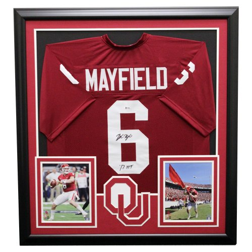 4f650785 Baker Mayfield Oklahoma Sooners Framed Autographed Signed Jersey - Beckett  Authentic