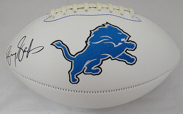 12bf57e4add Barry Sanders Autographed Signed Detroit Lions White Logo Football -  Beckett BAS Authentic