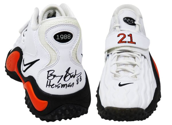 Barry Sanders Autographed Signed Nike Air Zoom Turf Jet '97 White & Orange #21 Shoe (Left Foot) w/Heisman 1988