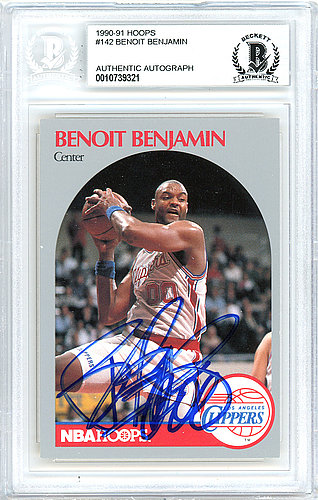Benoit Benjamin Autographed Signed 1990-91 Hoops Card Autographed Signed #142 Los Angeles Clippers - Beckett Authentic