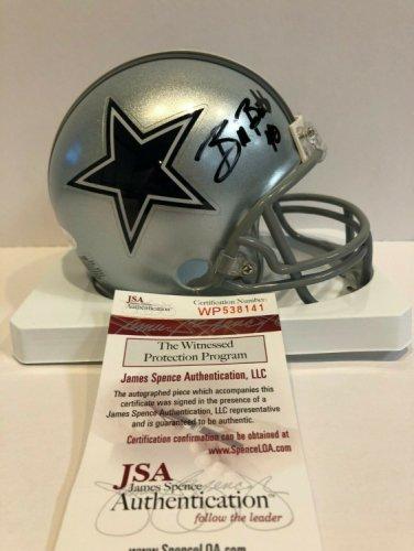 Bill Bates Autographed Signed Signed Dallas Cowboys Mini Helmet JSA COA