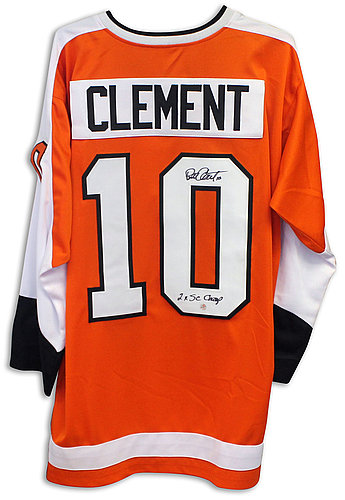 Bill Clement Philadelphia Flyers Autographed Signed Orange Jersey Inscribed 2X SC Champs - COA Included