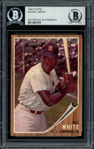 Bill White Autographed Signed 1962 Topps Card 14 St. Louis Cardinals Beckett BAS 11481370