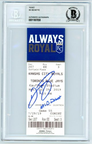 Bo Bichette Autographed Signed Autographed MLB Debut Game Ticket Stub 7/29/19 Baseball Beckett