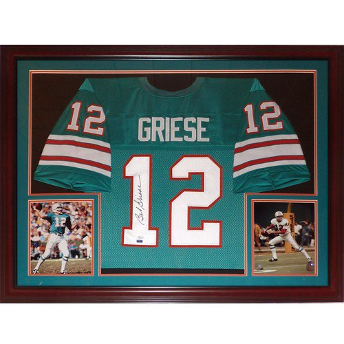 Bob Griese Autographed Signed Miami Dolphins (Teal #12) Deluxe Framed Jersey