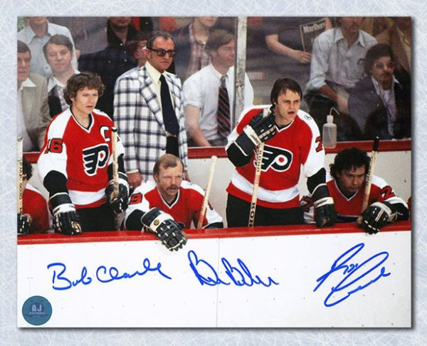 afffc0d12 Bobby Clarke Barber   Leach Autographed Signed Philadelphia Flyers LCB  Bench 8x10 Photo - Certified Authentic