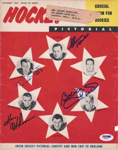 Bobby Hull Ken Wharram Glenn Hall and Pierre Pilote Autographed Signed Magazine Cover - PSA/DNA Certified
