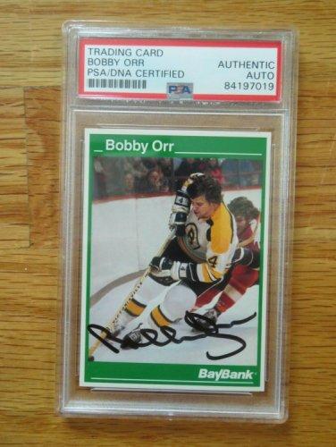 Bobby Orr Autographed Signed Bay Bank Boston Bruins Career Statistics Card #3 PSA