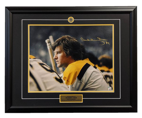 Bobby Orr Boston Bruins Autographed Signed Bench Close-Up 26x32 Frame