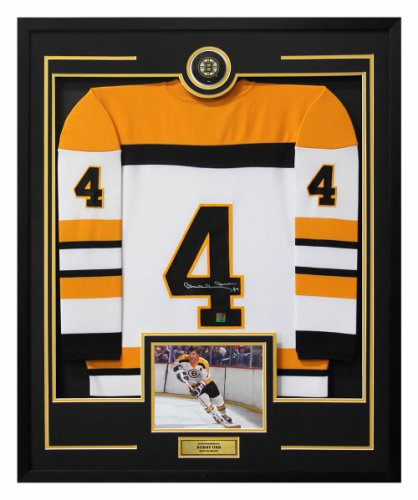Bobby Orr Boston Bruins Autographed Signed Vintage Style 36x44 Framed Hockey Jersey