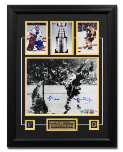 Bobby Orr vs Glenn Hall Dual Autographed Signed Stanley Cup Goal Photo 27x23 Frame LE #/70