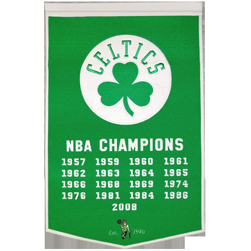 Boston Celtics NBA Finals Championship Dynasty Banner - with hanging rod