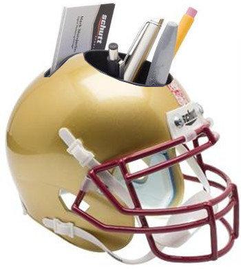 Boston NCAA Eagles Red-White Stripe NCAA Football Schutt Mini Helmet Desk Caddy