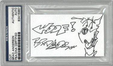 Brad Anderson Autographed Signed 3.5x2 Cartoonist Cut Signature     PSA # 83415987 Marmaduke Original Artwork w/ Woof!