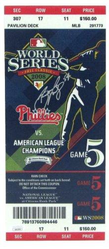 Brad Lidge Autographed Signed Phillies /Auto 2008 World Series Mini-Mega Ticket JSA