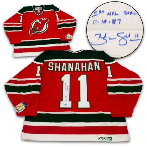 f13e0c4119d Brendan Shanahan New Jersey Devils Autographed Signed   Dated 1St Nhl Goal Retro  Ccm Jersey