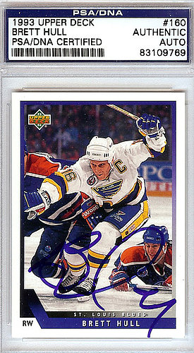 Brett Hull Autographed Signed 1993 Upper Deck Card #160 - PSA/DNA Certified