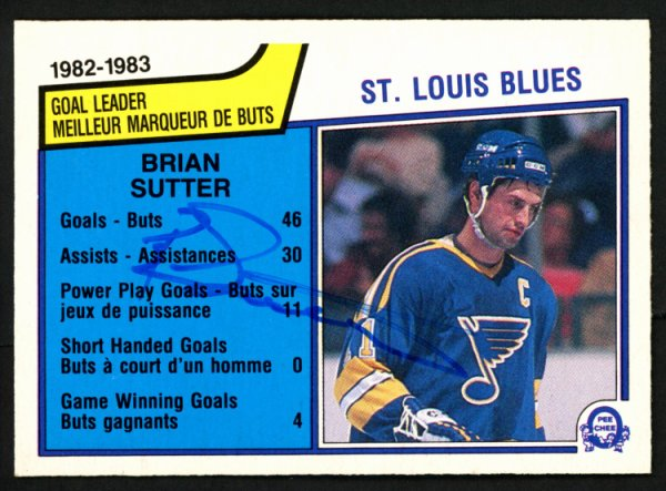 Brian Sutter Autographed Signed Memorabilia 1983 -84 O -Pee -Chee Card #308 St. Louis Blues 151360 - Certified Authentic