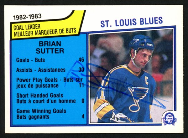 Brian Sutter Autographed Signed Memorabilia 1983 -84 O -Pee -Chee Card #308 St. Louis Blues 151361 - Certified Authentic