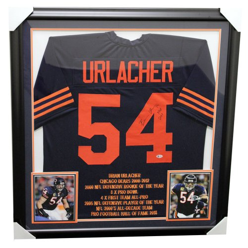 cc8cf5d8a03 Brian Urlacher Autographed Signed Chicago Bears Framed Custom Stats Jersey  - Beckett Certified Authentic