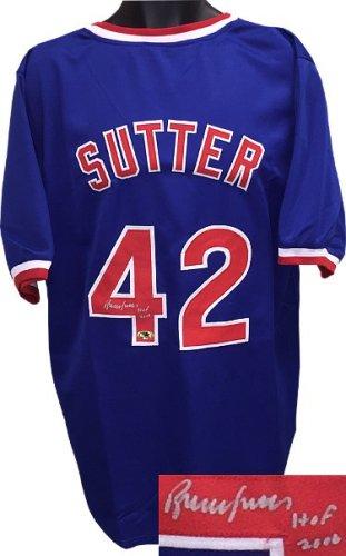 Bruce Sutter Autographed Signed Blue TB Custom Stitched Baseball Jersey w/ HOF 2006 XL- MAB Hologram