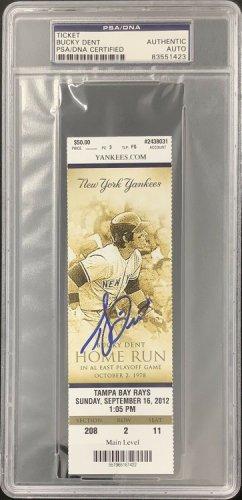 Bucky Dent Autographed Signed Full Ticket 9/16/12 Yankees Autograph Dent Hr Artwork PSA/DNA