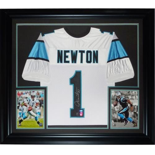 58d5f637c5f Cameron Newton Autographed Signed Auto Carolina Panthers White  1 Deluxe  Framed Jersey- Newton Holo