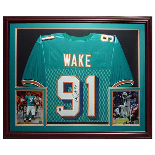 Cameron Wake Autographed Signed Miami Dolphins (Teal #91) Deluxe Framed Jersey - Wake Holo