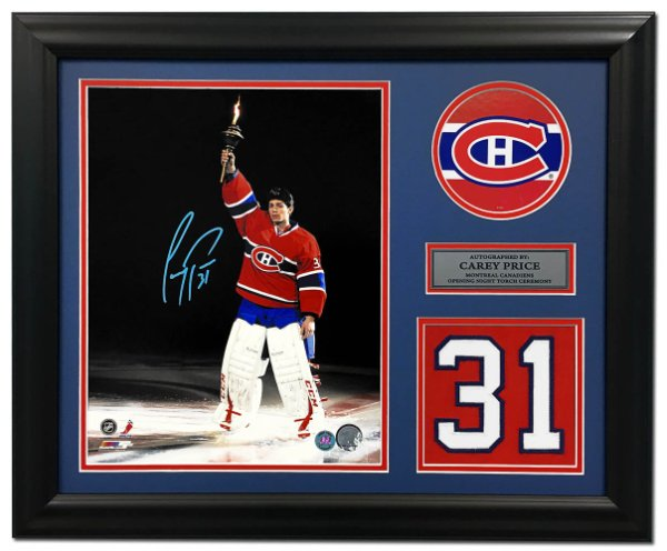 ac3f64e5f Carey Price Montreal Canadiens Autographed Signed Torch Ceremony Jersey  Number 19x23 Frame - Certified Authentic