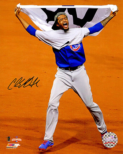Carl Edwards Jr. Autographed Signed Chicago Cubs 2016 World Series Celebration Waving White W Flag 8x10 Photo - Certified Authentic Autograph