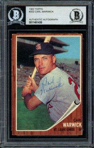 Carl Warwick Autographed Signed 1962 Topps Rookie Card 202 St. Louis Cardinals Beckett BAS 11481436