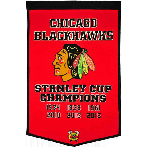 Chicago Blackhawks Stanley Cup Championship Dynasty Banner - with hanging rod