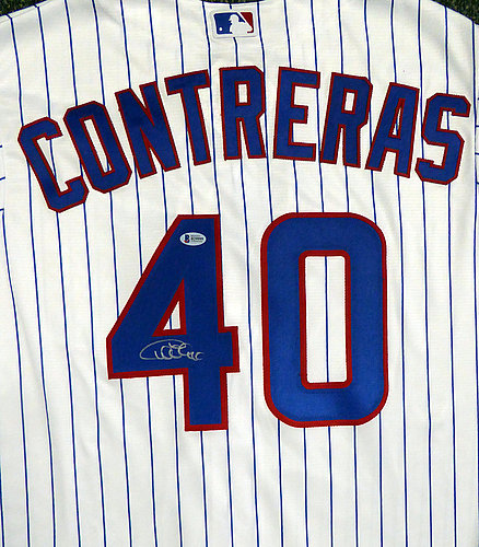 1d9ec3727c0 Chicago Cubs Willson Contreras Autographed Signed White Majestic Cool Base  Jersey Size XL - Beckett Certified