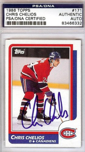Chris Chelios Autographed Signed 1986 Topps Card #171 - PSA/DNA Certified