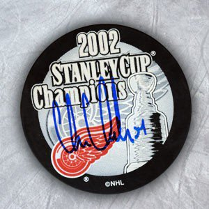 Chris Chelios Detroit Red Wings Autographed Signature 2002 Stanley Cup  Hockey Puck - COA Included fe615fa89