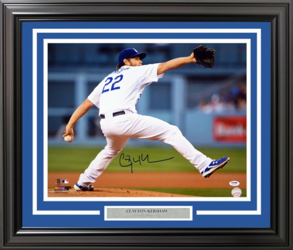 Clayton Kershaw Autographed Signed Framed 16x20 Photo Los Angeles Dodgers PSA/DNA