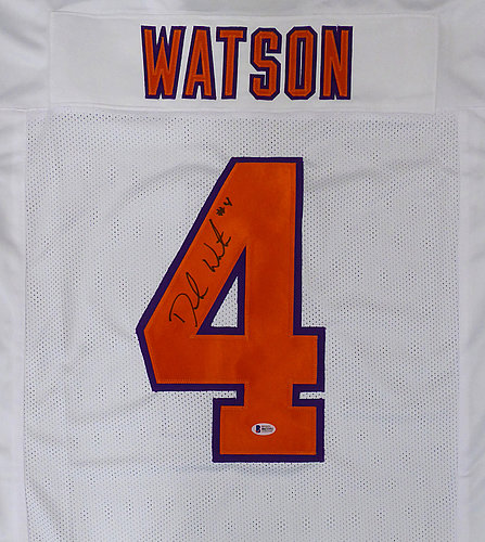 d76e1a69320 Clemson Tigers Deshaun Watson Autographed Signed White Jersey - Beckett  Authentic
