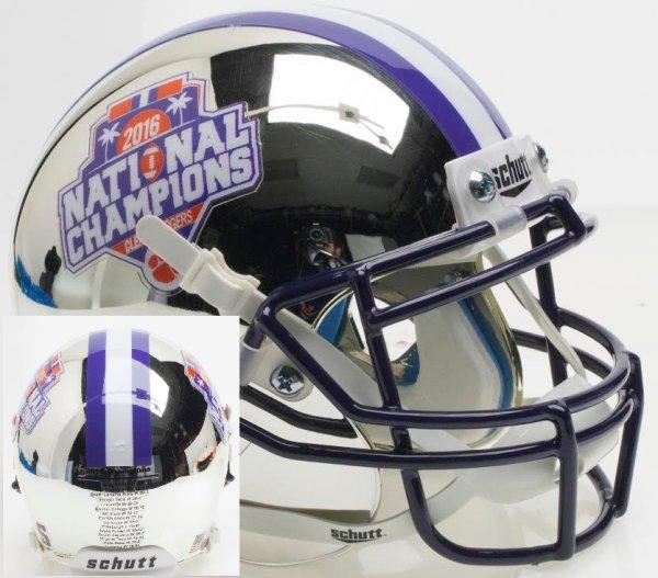 Clemson Tigers Mini XP Authentic Helmet Schutt 2016 National Champs Silver Chrome