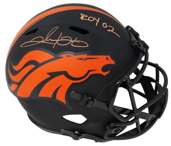 Clinton Portis Autographed Signed Denver Broncos Eclipse Black Matte Riddell Full Size Speed Replica Helmet w/02 ROY