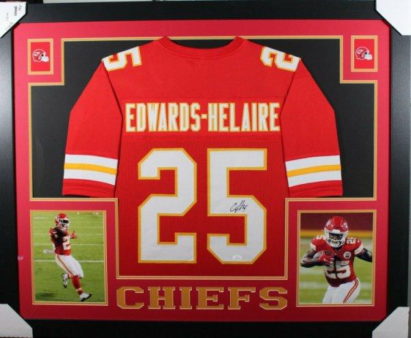 Clyde Edwards-Helaire Autographed Kansas City Chiefs Custom Red Football Jersey BAS COA