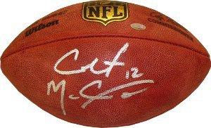 Colt McCoy Autographed Signed Official NFL Wilson Duke Football w/ #12 imperfect- McCoy Hologram