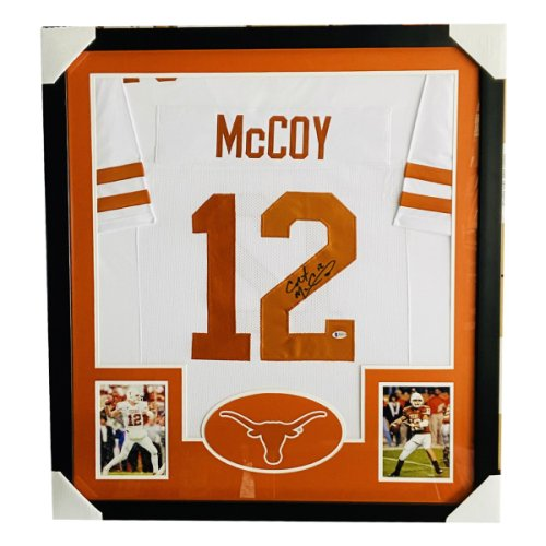 Colt McCoy Texas Longhorns Autographed Signed Deluxe Framed White Jersey - Beckett Authentic