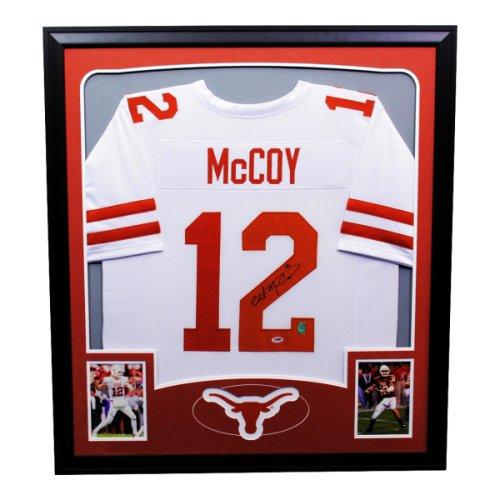 Colt McCoy Texas Longhorns Autographed Signed Framed White Jersey - PSA/DNA Authentic