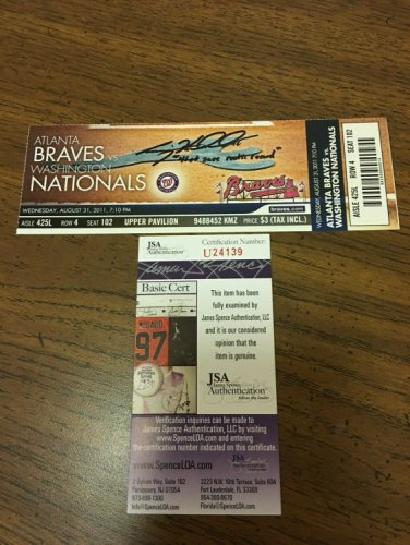 Craig Kimbrel Autographed Signed Record Breaking Save Ticket Stub JSA