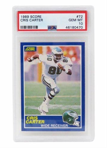 Cris Carter (Philadelphia Eagles) 1989 Score Football #72 RC Rookie Card - PSA 10 GEM MINT (New Label)
