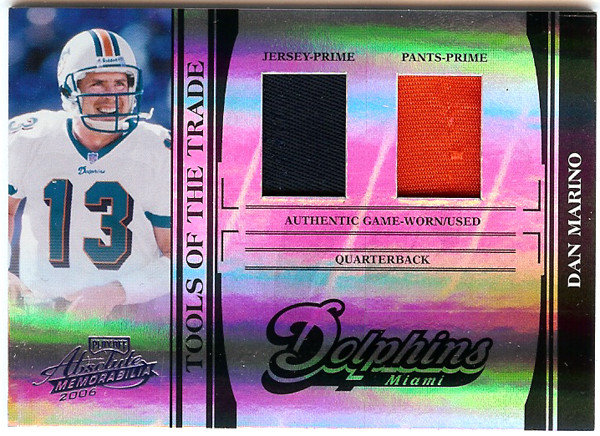 Dan Marino 2006 Playoff Absolute Tools Of The Trade Jersey Card #TOT-37 Miami Dolphins #12/25 SKU #103358